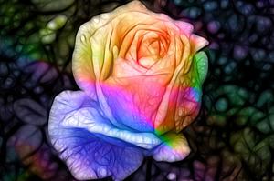 Фрактальный эффект, роза на абстрактном чёрном фоне