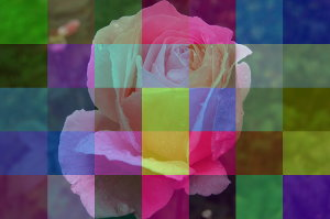 Photo with colored tiles, with superimposed semi-transparent squares in different colors