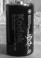 Black and white photo of battery Kodak